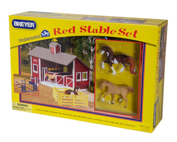 Stablemates Red Stable Set With Two Horses Over The Rainbow