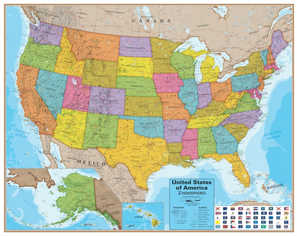 Show Me A Picture Of A Map USA Wall Map Blue Ocean Series   Over the Rainbow